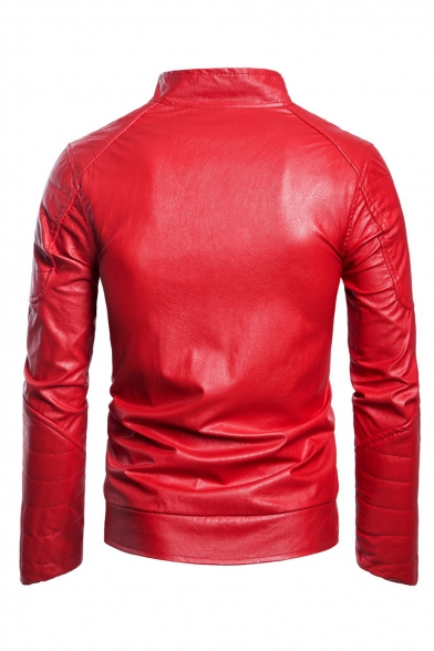 New Trendy Stand Collar Long Sleeve Zip Up Slim Fitted PU Jacket