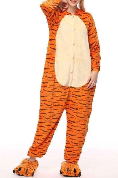 Orange Tiger Cospaly Fleece Long Sleeve Hooded Button Front Onesie Pajamas