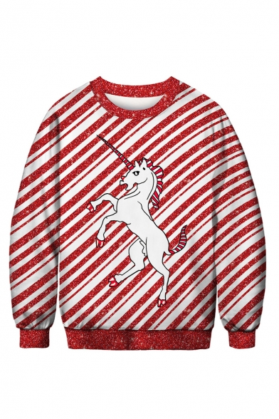 Red and White Striped Printed Unicorn Crew Neck Long Sleeve Sweatshirt