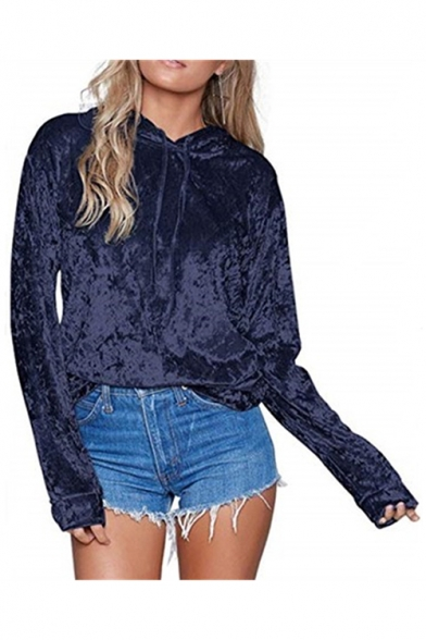 Women's Autumn Long Sleeve Basic Solid Loose Casual Velvet Hoodie LC492623 фото