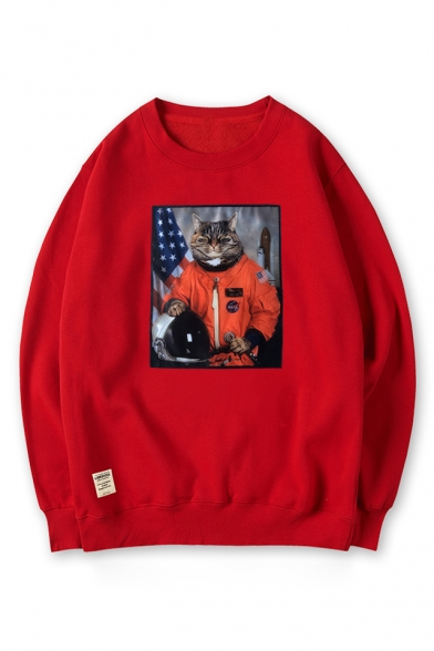 3D Cool Astronaut Cat Printed Round Neck Long Sleeve Pullover Sweatshirt