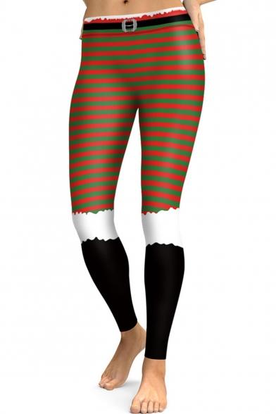 Classic Color Block Striped Print Sports Stretch Leggings