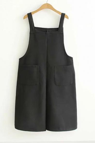 Купить со скидкой Classic Wide Leg Casual Plain Double Pockets Straps Overall Jumpsuit