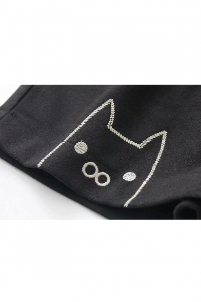 Cute Cartoon Cat Embroidered Elastic Waist Black Loose Wool Shorts