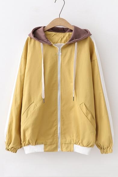 Funny Cartoon Printed Back Long Sleeve Color Block Zip Up Hooded Coat