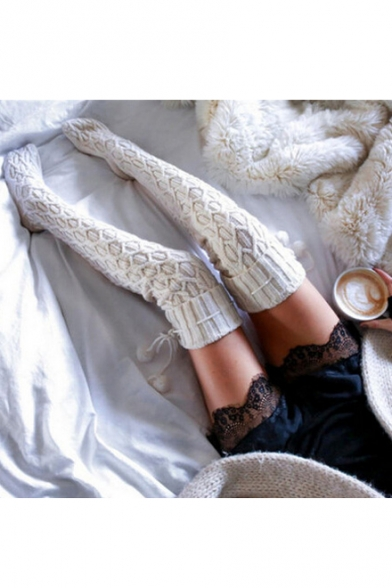 Hot Fashion Winter's Basic Solid Knitted Stockings