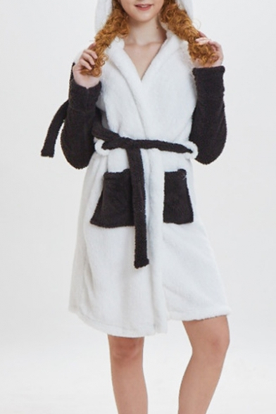 Trendy Color Block Two-Tone Hooded Long Sleeve Tied Waist Bathrobe