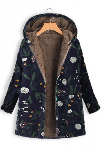 Winter's Chic Floral Printed Long Sleeve Hooded Zip Up Cotton-Padded Coat