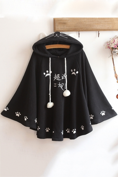 Cartoon Cat Claw Letter Printed Long Sleeve Pom Pom Embellished Cape Hoodie