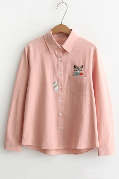Cartoon Fox Embroidered Pocket Patched Lapel Collar Long Sleeve Button Down Shirt