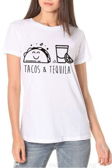 Cartoon Letter TACOS & TEQUILA Printed Short Sleeve Round Neck White Cotton Tee