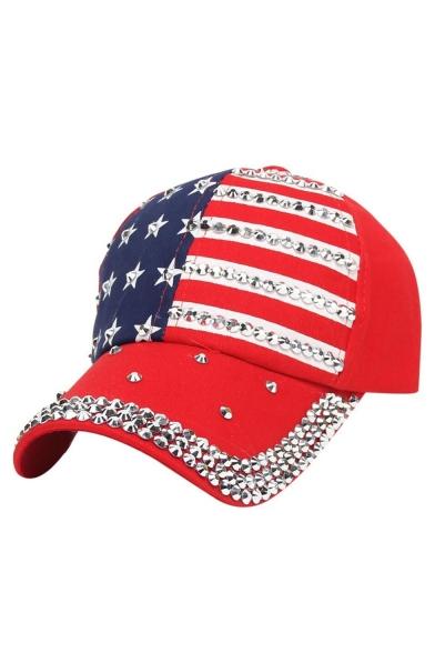 Colorblock Flag Printed Beaded Unisex Outdoor Baseball Hat