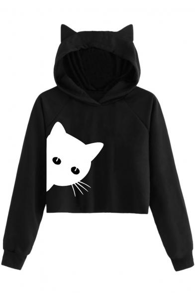 Cute Cartoon Cat Printed Long Sleeve Car Ear Cropped Hoodie