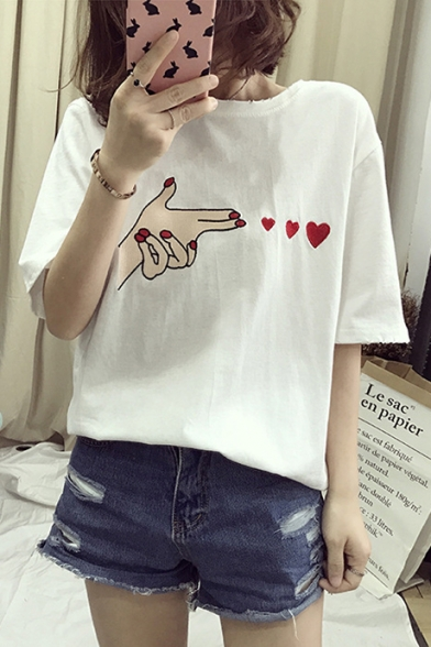 Cute Heart Embroidered Short Sleeve Round Neck Loose Tee