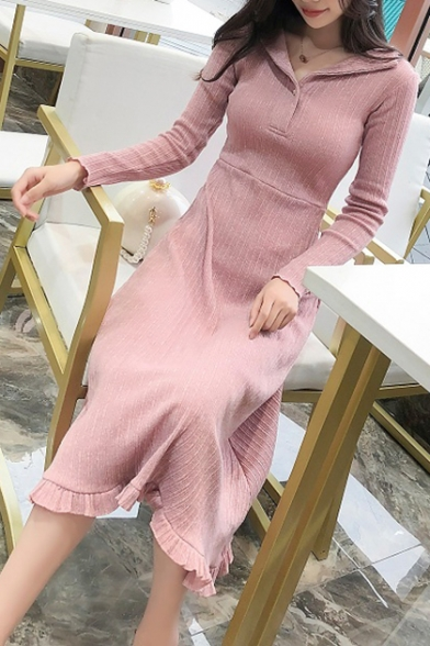Elegant Long Sleeve Lapel Collar Plain Ruffle Trim Midi A-Line Dress