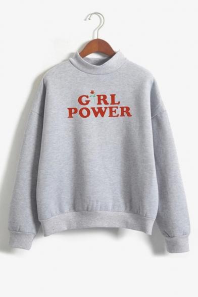 Fashion Letter GIRL POWER Floral Printed Mock Neck Long Sleeve Loose Sweatshirt
