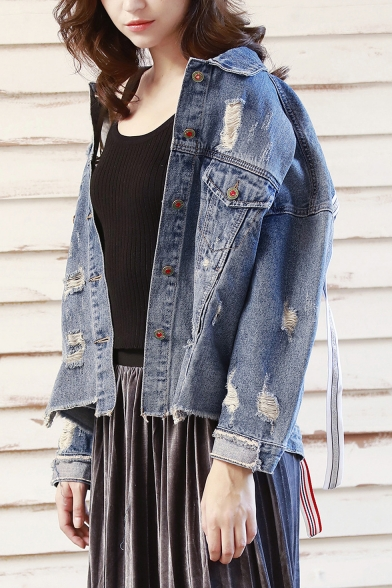 Fashion Letter Ribbon Patched Back Ripped Detail Fringed Hem Blue Denim Jacket