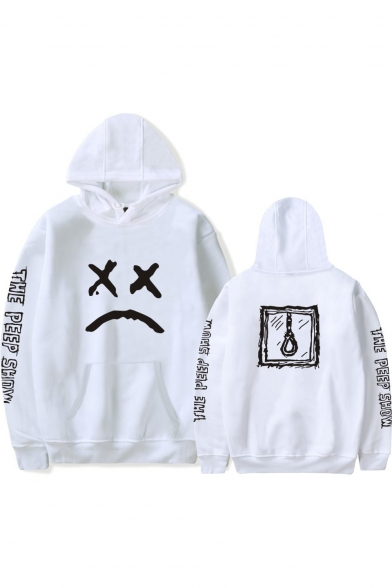 Letter THE PEEP SHOW Long Sleeve Sad Face Printed Relaxed Casual Hoodie
