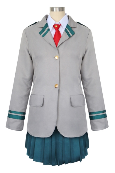 Купить со скидкой Lovely Cosplay Costume Stripes Printed Notched Lapel Collar Single Breasted Coat Mini A-Line Skirt G