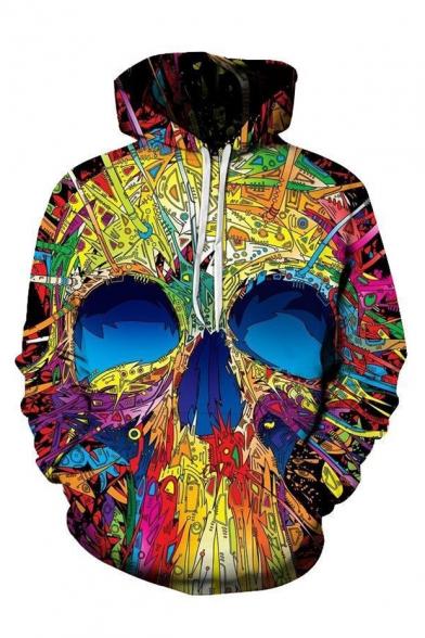 New Trendy 3D Skull Printed Long Sleeve Unisex Loose Fitted Hoodie