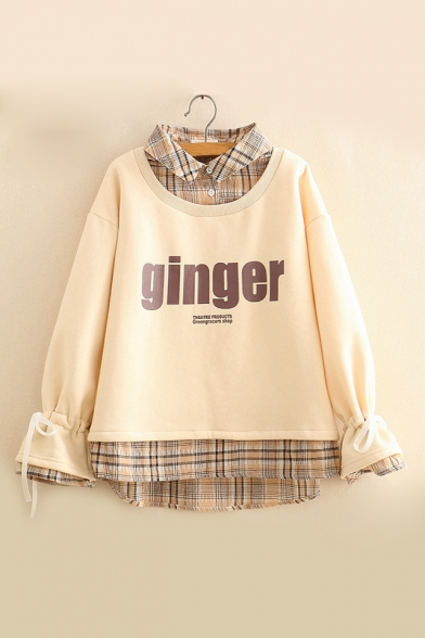 New Trendy Plaid Patched Lapel Collar Long Sleeve Letter GINGER Print Sweatshirt
