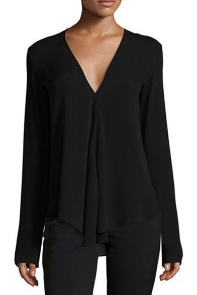 Simple Solid V-Neck Long Sleeve Loose Fitted Chiffon Blouse for Women