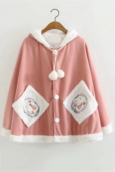 Single Breasted Long Sleeve Pom Pom Embellished Pattern Patch Pockets Hooded Cape Coat