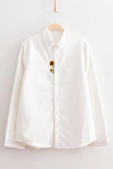 Sunflower Embroidered Lapel Collar Long Sleeve Fur Inside Button Down Shirt