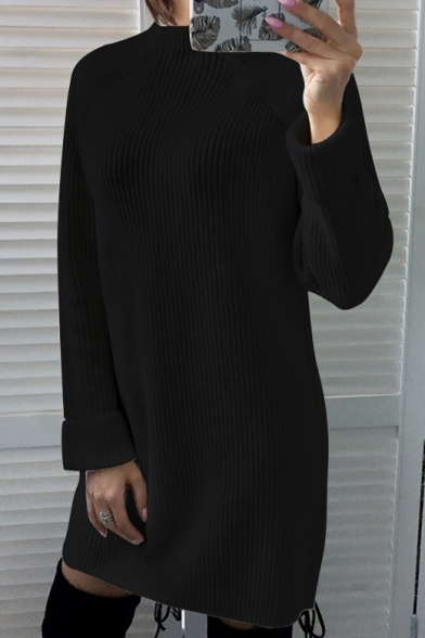 Warm-Up Simple Long Sleeve Plain Mock Neck Mini Shift Dress