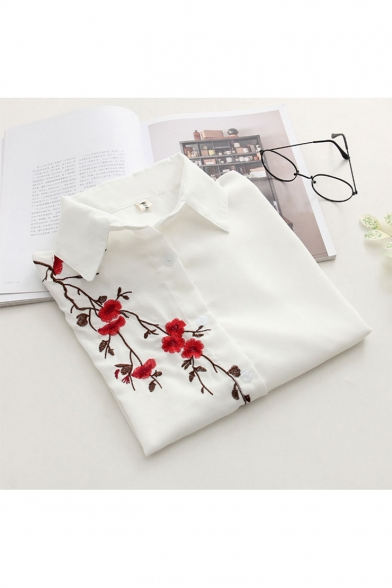 White Knot Front Floral Embroidered Short Sleeve Lapel Collar Button Down Shirt
