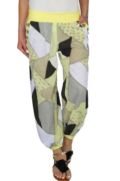 Women's Color Block Elastic Waistband Adjustable Cuffs Loose Fit Women's Lounge Pants