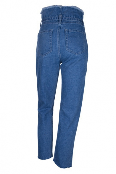 Women's New Arrival High-Rise Tulip Tied Waist Fringed Trim Tapered Jeans