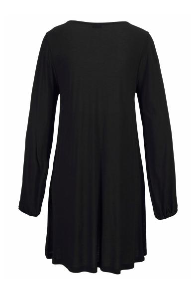 Women's V-Neck Cutout Long Sleeve Loose Casual Mini Black Beach Dress