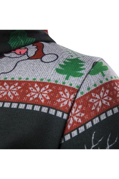 Cute Cartoon Deer Snowflake Printed Long Sleeve Unisex Hoodie