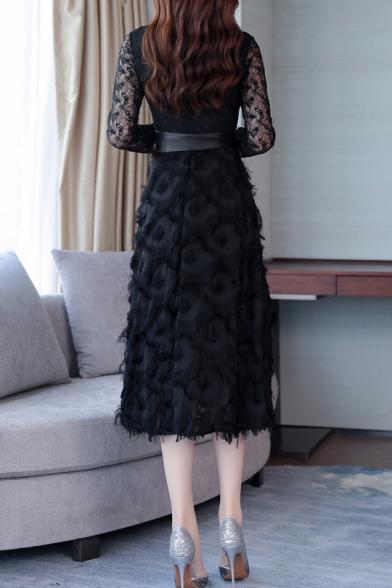 Elegant Black Feather Embellished Scoop Neck Long Sleeve Belted Fit & Flare Dress
