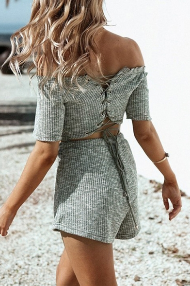 Hot Sale Off The Shoulder Lace Up Back Crop Top Plain Drawstring Waist Wide Leg Short Gray Co-ords