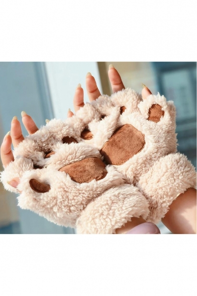 New Design Stylish Cute Warm Woolly Crag Half-Finger Gloves with Cat Claw Details