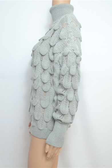 New Stylish Fish Scale Knitted Turtleneck Long Sleeve Solid Slim Sweater