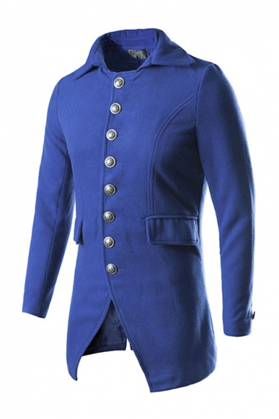 Simple Long Sleeve Lapel Collar Single Breasted Plain Slim Blue Double-Faced Woolen Coat