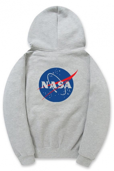 9707c96dd Trendy Letter NASA Logo Printed Long Sleeve Relaxed Pullover Hoodie
