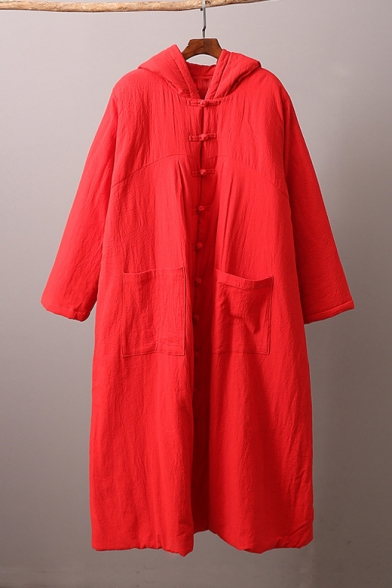 Vintage Loose Casual Hooded Long Sleeve Button Down Witch Solid Longline Cotton Padded Overcoat