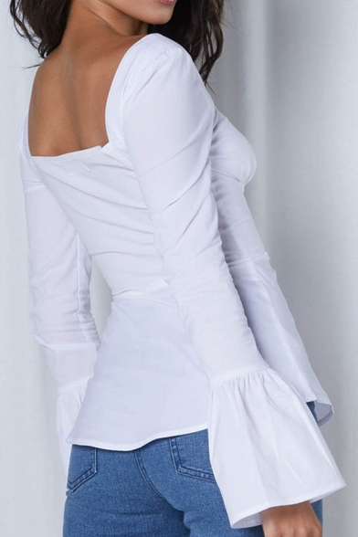 White Plain Square Neck Flare Long Sleeve Pleated Bow Front Fitted Blouse