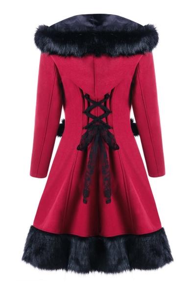 Winter's Hot Fashion Fur Trimmed Pompom Embellished Hooded Long Sleeve Christmas Burgundy Woolen Longline Coat