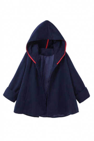 Winter's New Arrival Fashion Long Sleeve Hooded Contrast Trim Cape Coat