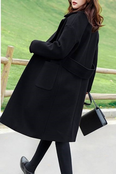 Winter's New Trendy Long Sleeve Plain Notched Lapel Collar Double Button Woolen Coat