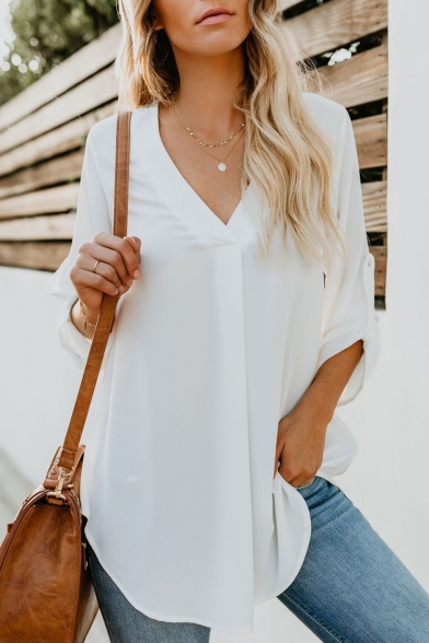 Basic Solid V-Neck Long Sleeve Loose Fitted Chiffon Blouse