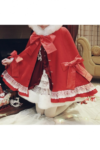 Christmas Oversize Long Sleeve Single Breasted Bow Embellished Plain Hooded Cape Woolen Coat