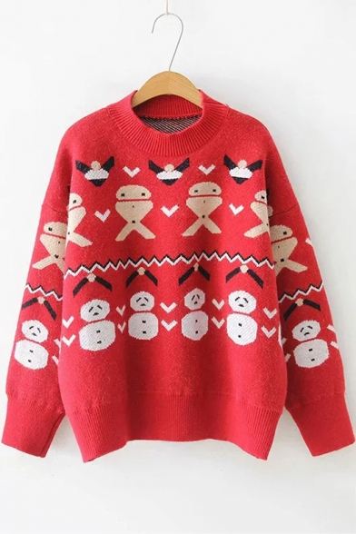Christmas Series Cute Long Sleeve Mock Neck Snowman Printed Knit Sweater, LC494722, Red;beige