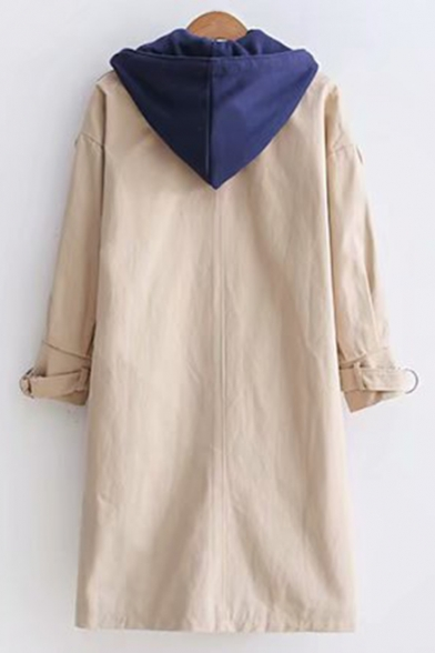 Colorblock Long Sleeve Single Breasted Tunics Trench Coat