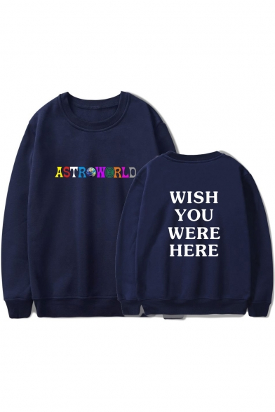 Colorful Letter ASTROWORLD WISH YOU WERE HERE Print Round Neck Pullover Sweatshirt